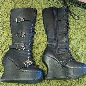 Demonia calf boots wedges. Vegan leather
